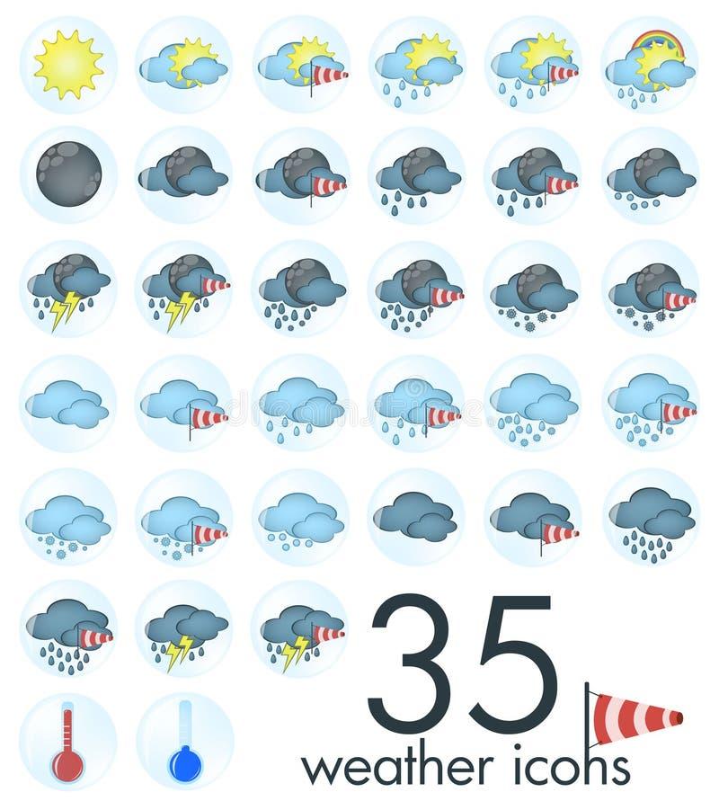 天气象- 35不同天气加上温度计 免版税库存照片
