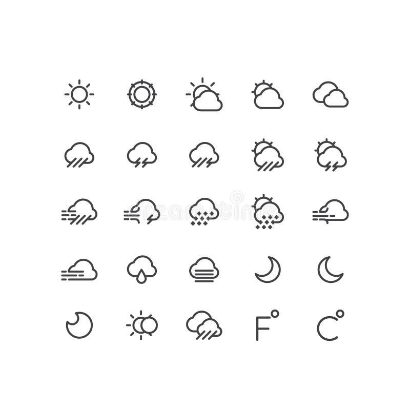 天气预报机动性和Web应用程序按钮标志,被隔绝的Minimalistic对象,云彩,部分 库存例证