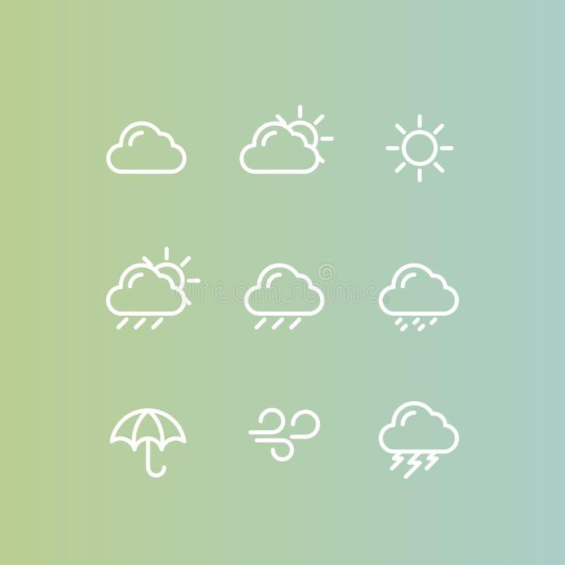 天气预报机动性和Web应用程序按钮标志,被隔绝的Minimalistic对象 库存例证