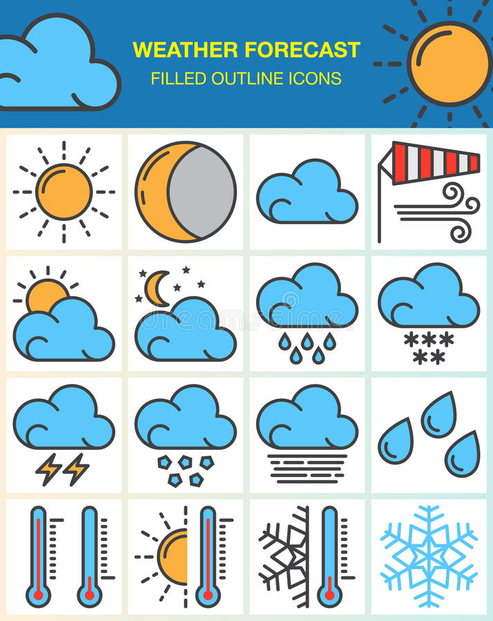 天气预报线象设置了,被填装的概述标志收藏,在白色的线性五颜六色的图表组装 皇族释放例证