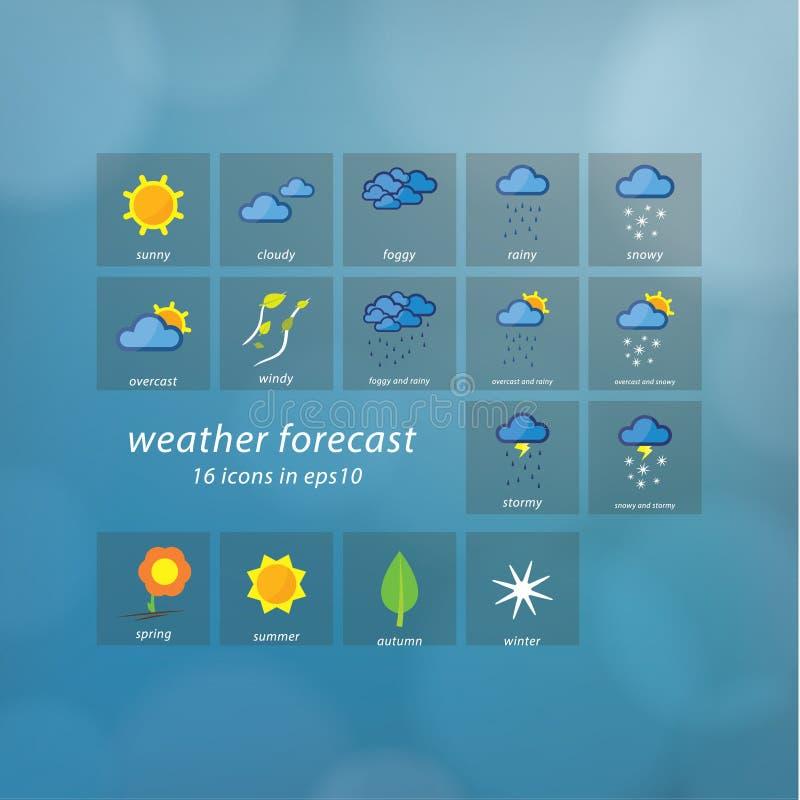 天气预报象。传染媒介象-风格化天气事件。 向量例证