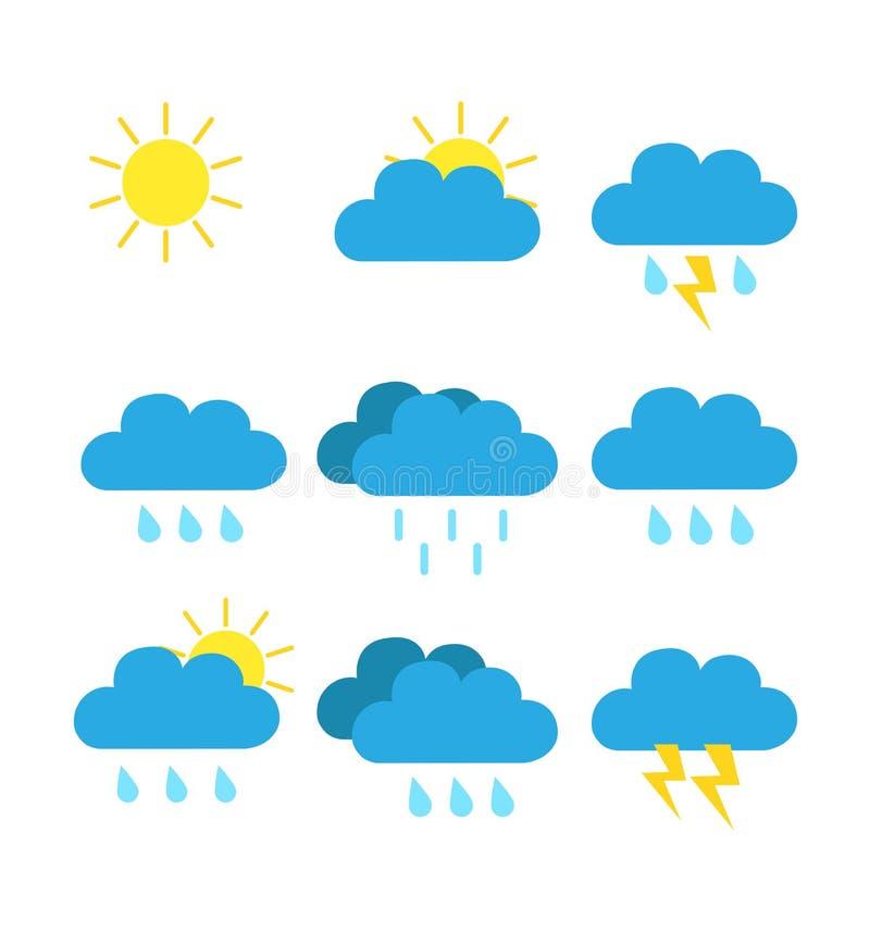天气预报象上色网汇集平的传染媒介例证 库存例证