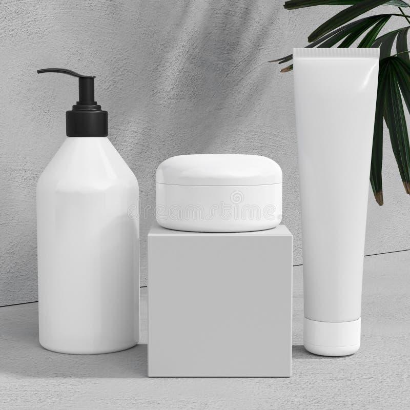 天然化妆品奶油,血清,包装用叶子草本,生物有机产品的skincare空白的瓶白色设计  秀丽和 皇族释放例证