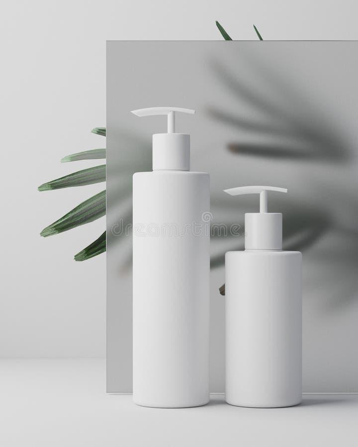 天然化妆品奶油,血清,包装用叶子草本,生物有机产品的skincare空白的瓶白色设计  免版税库存图片
