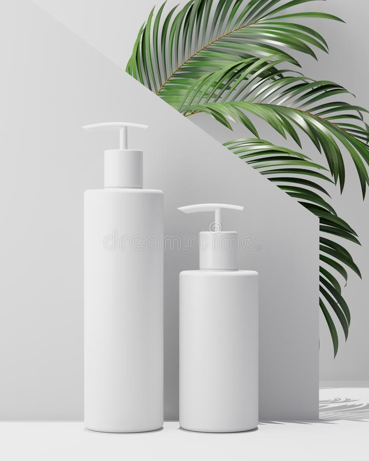 天然化妆品奶油,血清,包装用叶子草本,生物有机产品的skincare空白的瓶白色设计  库存例证