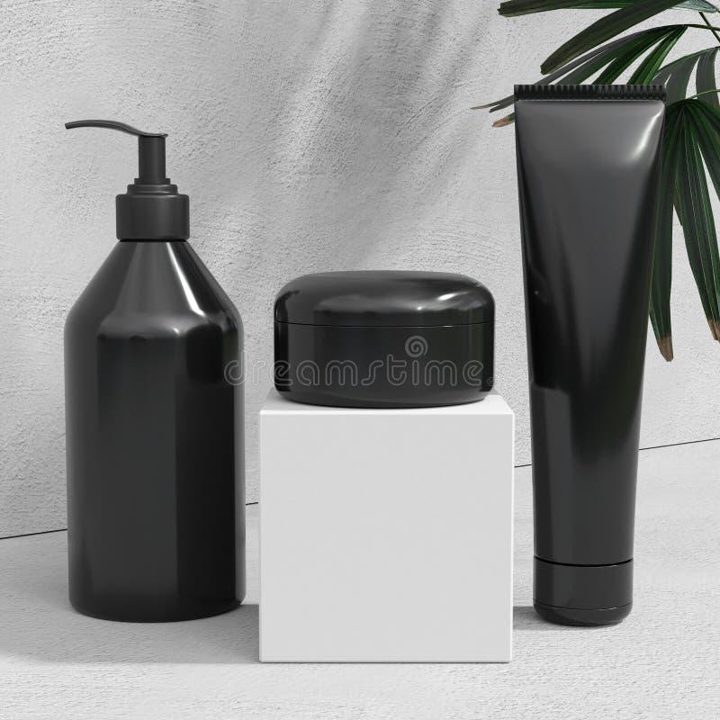 天然化妆品奶油,血清,包装用叶子草本,生物有机产品的skincare空白的瓶黑设计  秀丽和 皇族释放例证