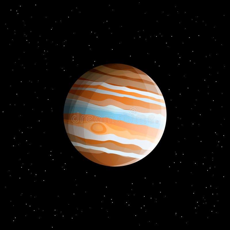天然气业巨头-在现实样式画的行星木星最大的太阳系行星 向量例证
