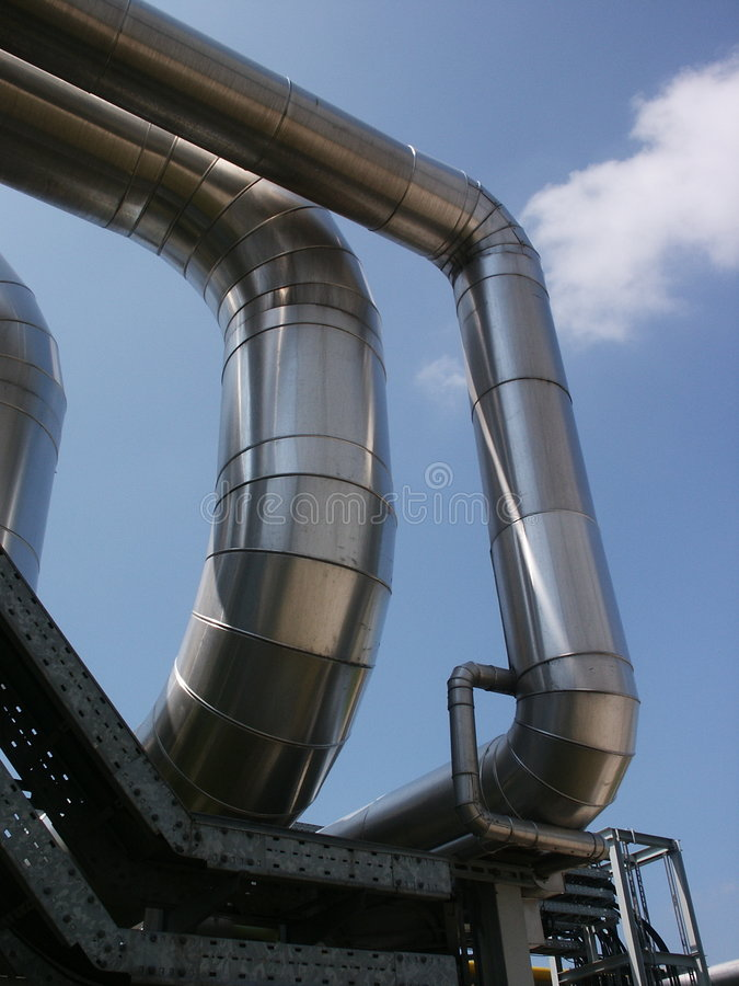 天然气加工厂次幂蒸汽 库存照片