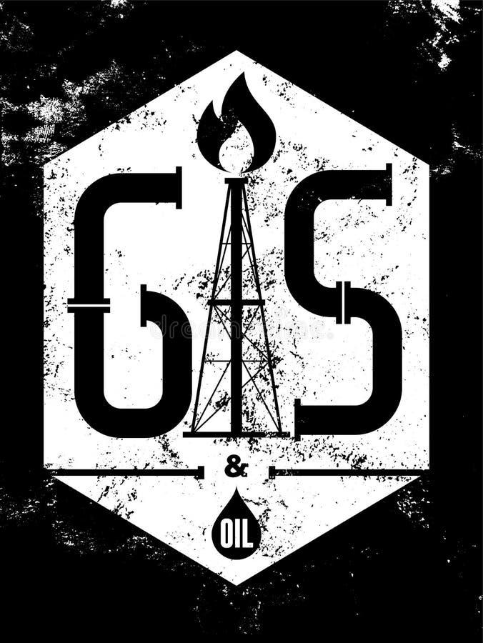 天然气和石油 黑白的减速火箭的印刷难看的东西产业海报 也corel凹道例证向量 皇族释放例证