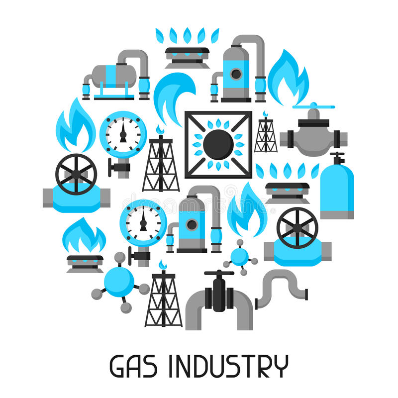 天然气生产、射入和存贮 行业背景设计 库存例证