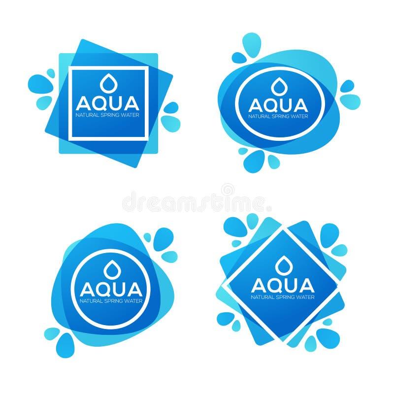 天然泉水、传染媒介商标、标签和贴纸模板 库存例证