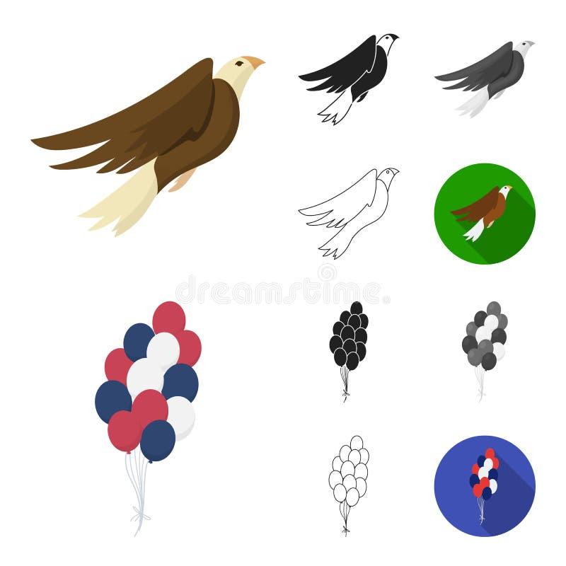 天爱国者,假日动画片,黑色,平,单色,在集合汇集的概述象的设计 美国传统 向量例证