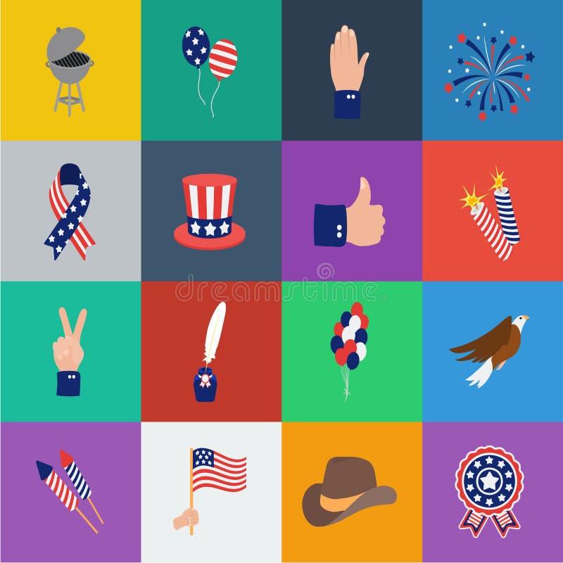 天爱国者,假日在集合汇集的动画片象的设计 美国传统传染媒介标志股票网 库存例证