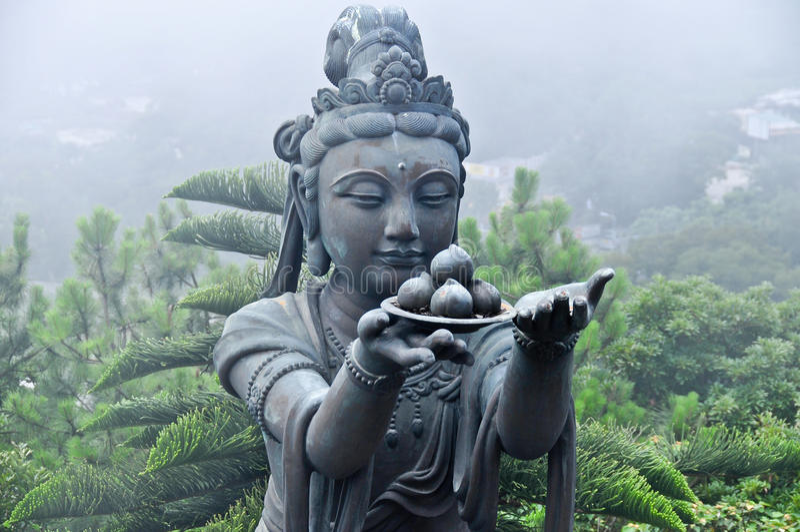 天狮Tan菩萨复合体雕象  免版税库存图片