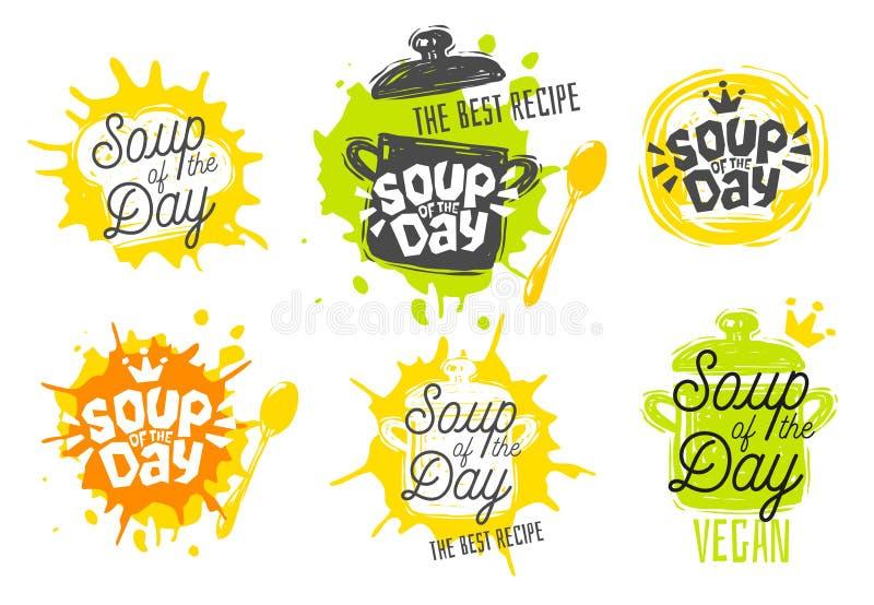 天的汤,烹调字法象的剪影样式被设置 库存例证