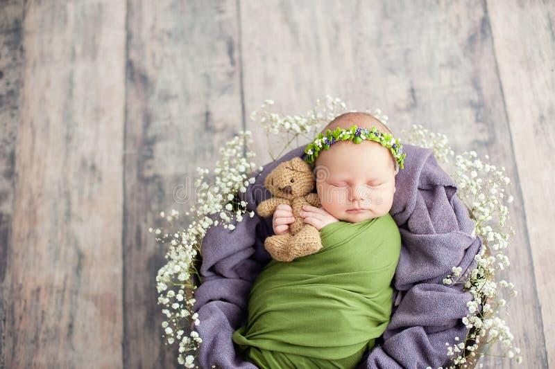 10天的老新生儿在篮子睡觉 两星期老孩子 生活和愉快的神仙的不可思议的童年概念起点  ?? 库存照片