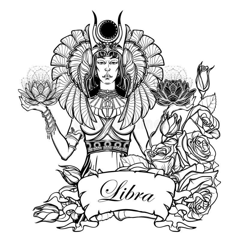 天秤座作为一个美丽的埃及女神的黄道带标志的例证 向量 皇族释放例证