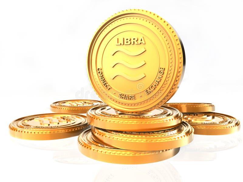 天秤座土窖o货币硬币 金黄天秤座硬币,3D在白色背景隔绝的翻译 皇族释放例证