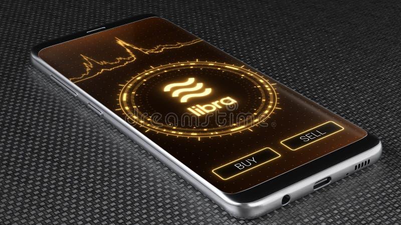 天秤座在流动应用程序屏幕上的cryptocurrency标志 价格图表,买卖按钮 3d?? 向量例证