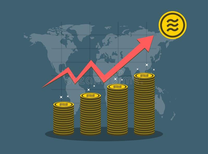 天秤座硬币概念在背景地图世界的成长曲线图 E 库存例证