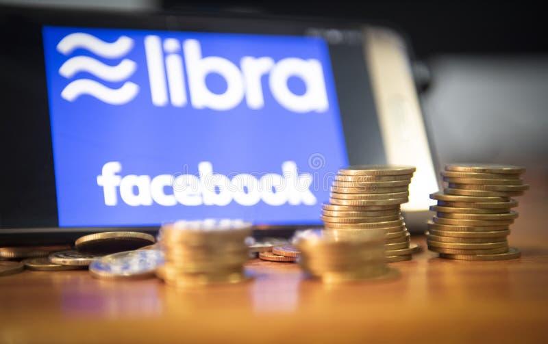 天秤座硬币blockchain概念/Facebook发射的cryptocurrency看对主流数字货币的新的项目天秤座 免版税库存照片