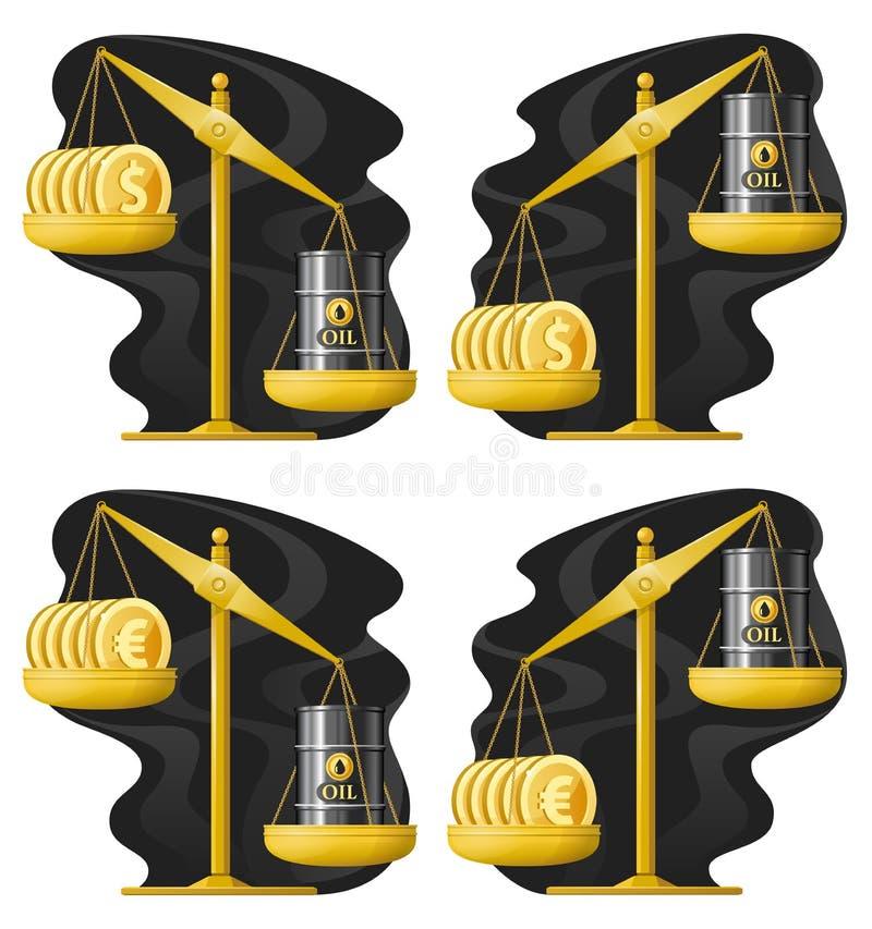 天秤座 油价率上上下下 美元和油桶 欧洲 库存例证