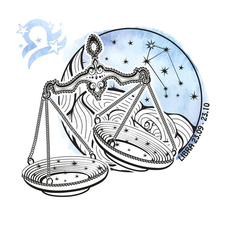 天秤座黄道带标志 占星圈子 水彩 库存例证
