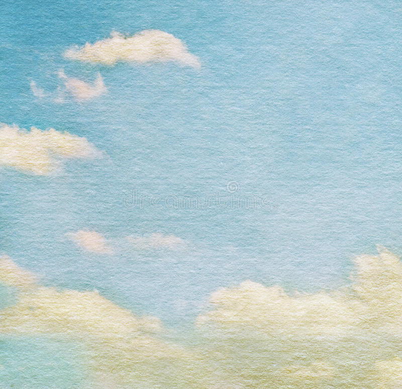 天空和云彩在水彩背景 库存图片