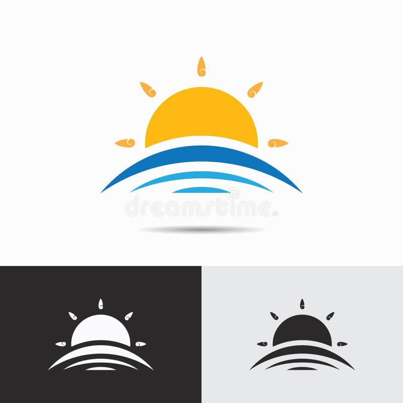 天空和太阳商标在干净的最低纲领派样式的象模板 Busine 向量例证