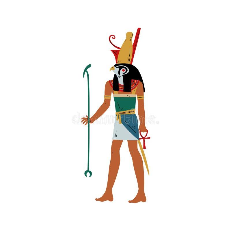 天空和太阳的荷鲁斯上帝与猎鹰头,古老埃及文化传染媒介例证的标志 库存例证