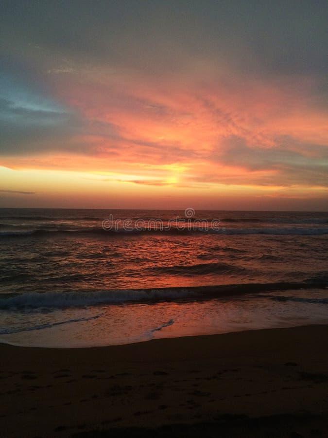 天空和海洋日落 图库摄影