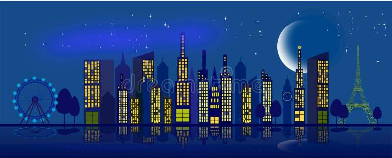 天空在城市在与月亮和星的晚上 皇族释放例证