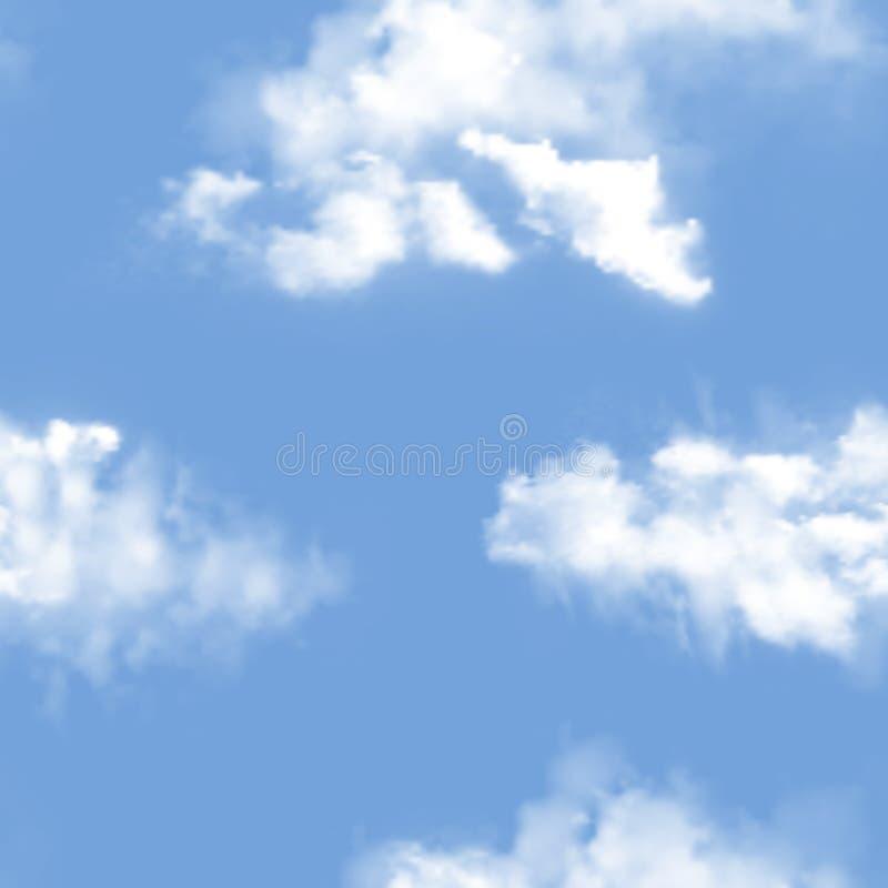 天空样式传染媒介多云背景和蓝色被覆盖的地平线天堂墙纸例证套与蓬松的cloudscape 免版税库存照片