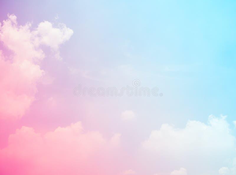 天空桃红色和蓝色颜色 天空抽象背景迷离光gra 免版税库存照片