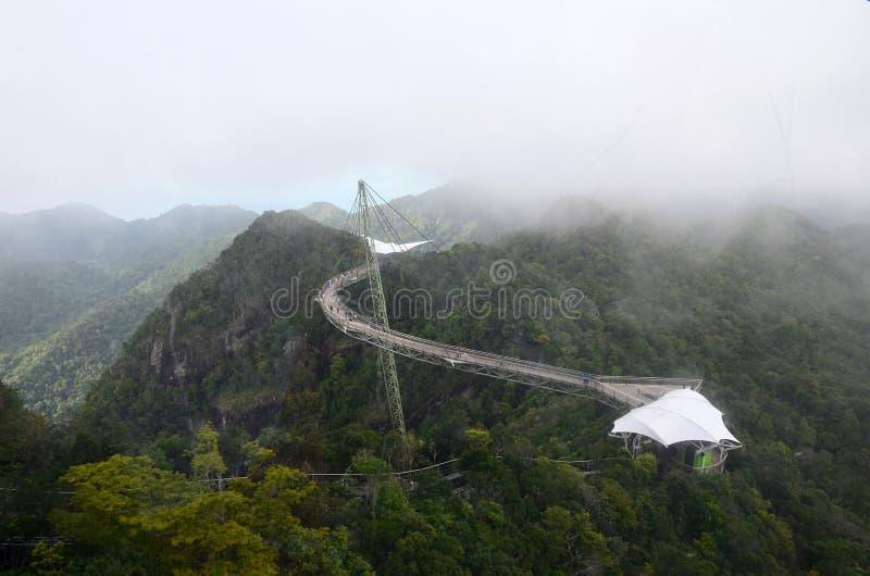 天空桥梁的鸟瞰图在凌家卫岛海岛,马来西亚上的 人们在海上的弯曲的桥梁上流走山的 库存图片