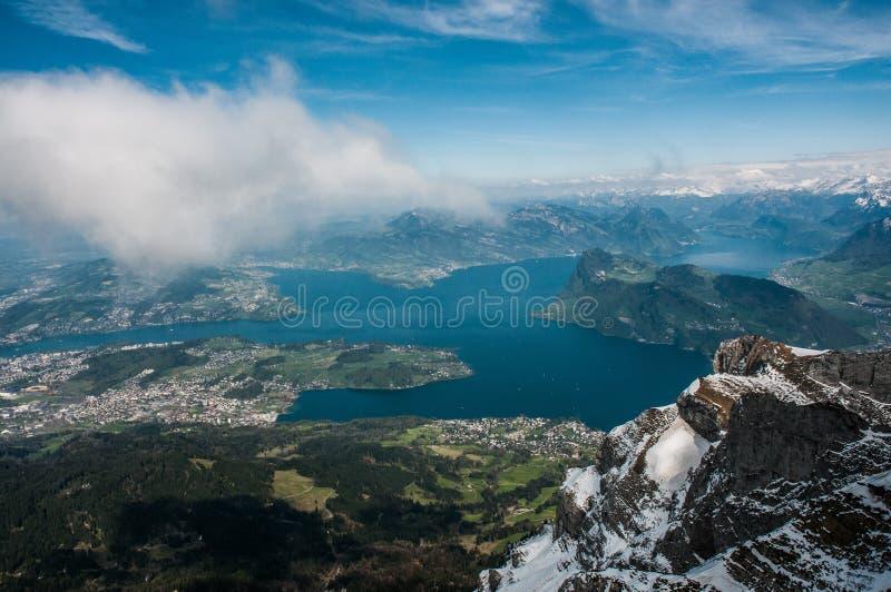 从天空的湖 免版税库存图片