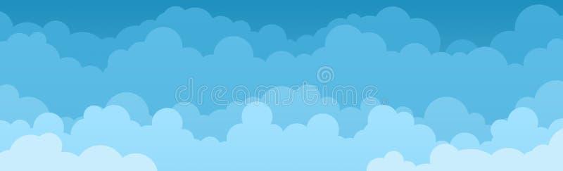 天空蔚蓝全景有云彩背景可以为海报或介绍设计使用 库存图片