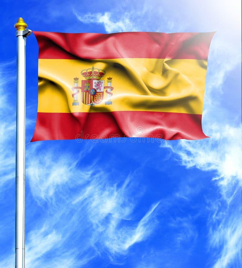 天空蔚蓝和帆柱与西班牙的被挂的挥动的旗子 库存例证