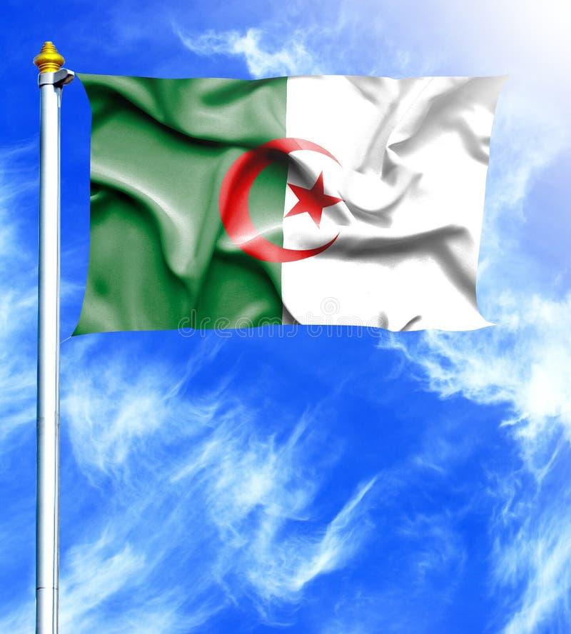天空蔚蓝和帆柱与阿尔及利亚的被挂的挥动的旗子 库存例证