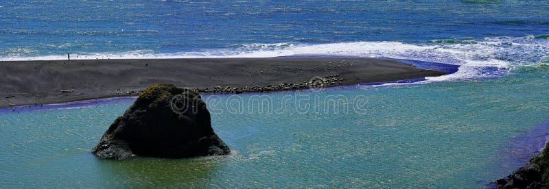 天空蔚蓝和海滩海岸线风景全景与岩石的在太平洋海岸的 库存图片
