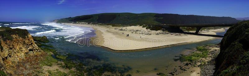 天空蔚蓝和海滩海岸线风景全景与岩石的在太平洋海岸的 免版税库存照片