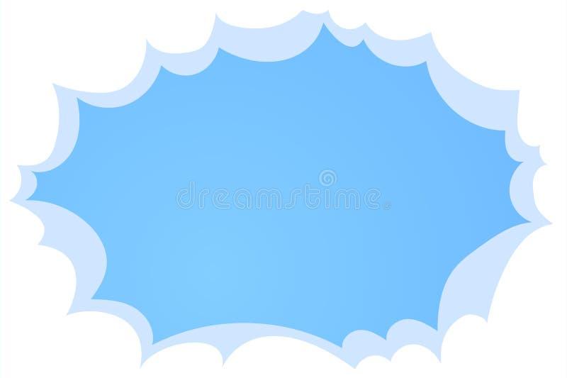 天空蔚蓝有白色云彩背景 在天空,与地方的平的传染媒介例证的云彩文本的 库存例证