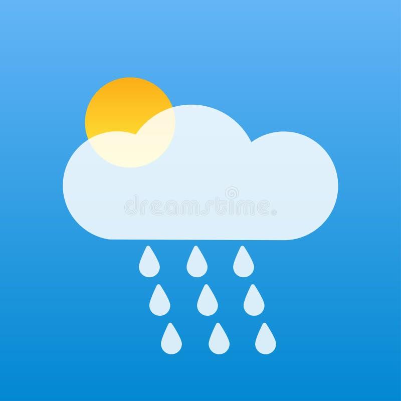 天空蔚蓝白色云彩黄色太阳天气 库存例证