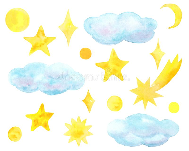 天空设置与星和云彩 向量例证