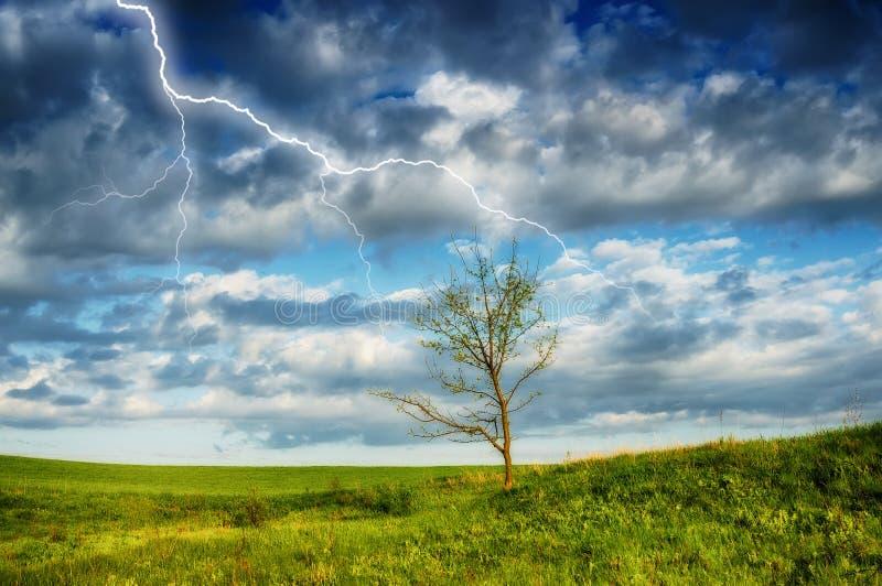 天空 在天空的闪电 覆盖黑暗 免版税库存图片