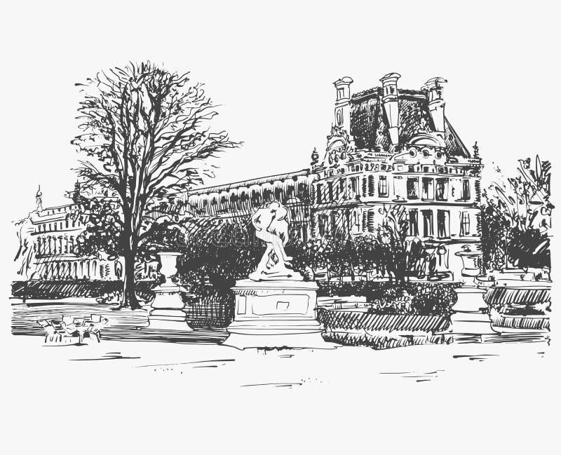 天窗的略图,从巴黎,法国的著名地方 皇族释放例证