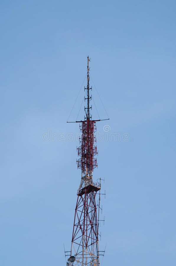 天线蓝色通信天空 库存照片