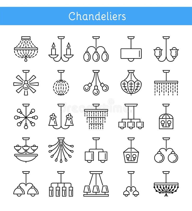 天花板灯&光 枝形吊灯的不同的类型 套h 库存例证