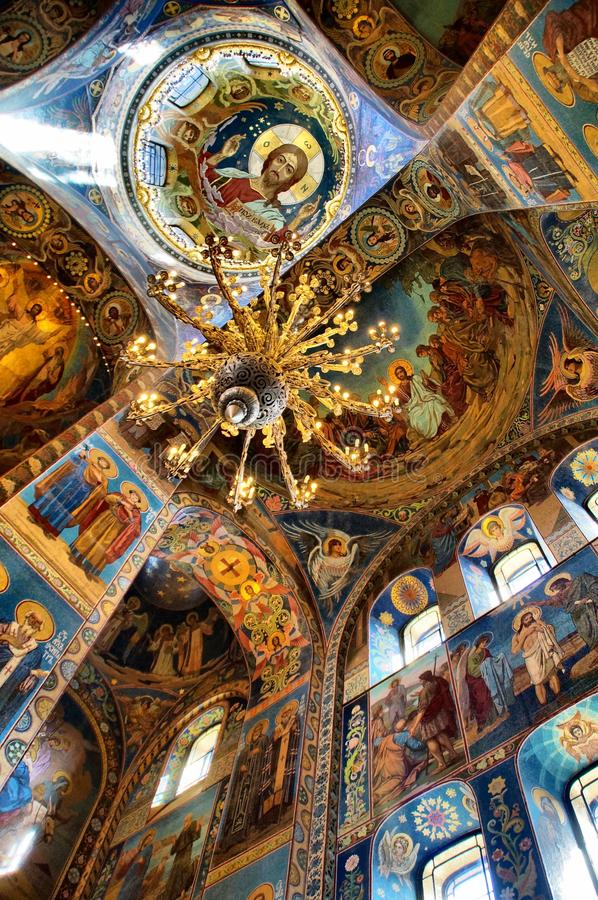 天花板,教会在圣彼德堡俄罗斯 库存照片