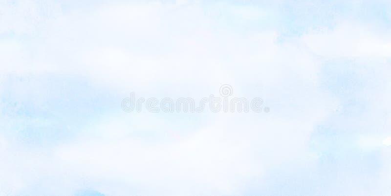 天蓝色上色光水彩背景 水彩画绘了葡萄酒设计的,邀请加州纸织地不很细帆布 免版税图库摄影